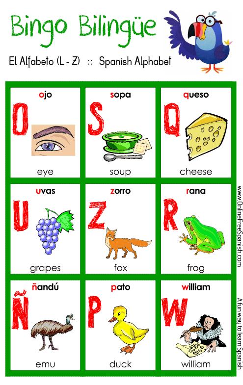 Bingo Bilingue El Alfabeto The Alphabet Http Www Onlinefreespanish Com Aplica Lessons Bingos Bingoalpha2 Pdf Alphabet Bingo Kids English Bingo