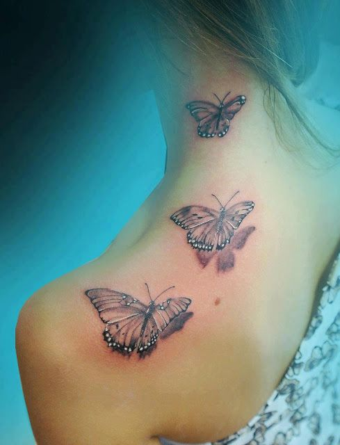 Three Butterfly Shoulder Tattoo Share On Tumblr Facebook Twitter Google Stumbleupon Dig Butterfly Tattoo On Shoulder Neck Tattoo Butterfly Tattoos For Women