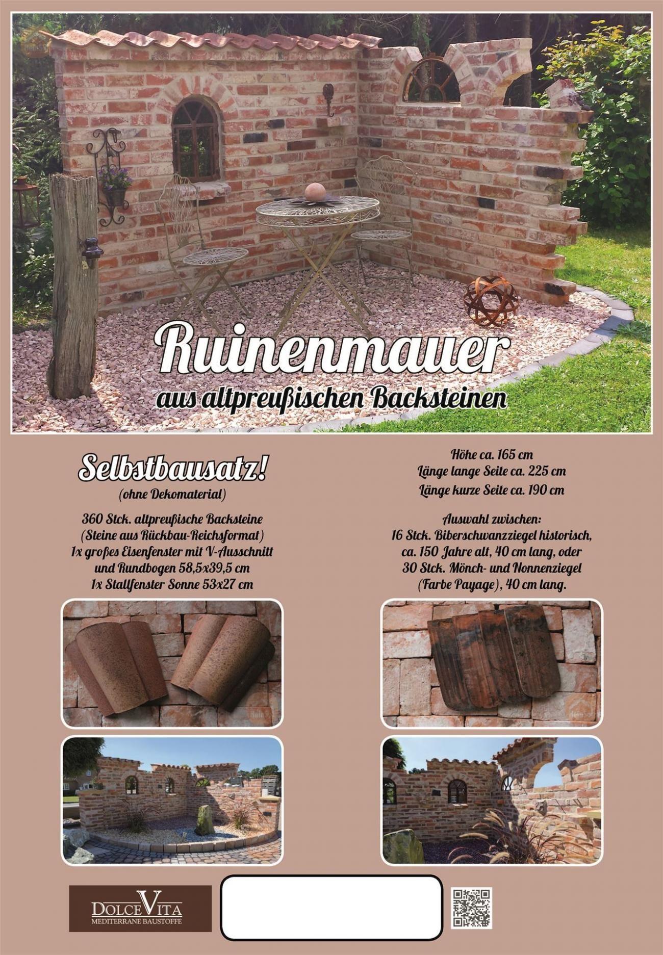 Ruinenmauer selber bauen   Altpreußische Backsteine   Mediterrane Dachziegel