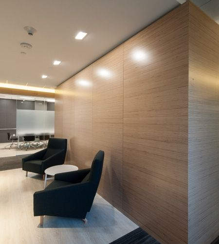 Modern Office Interior With Natural Birch Plywood Partitioning Walls Modern Office Interiors Interior Cladding Veneer Panels