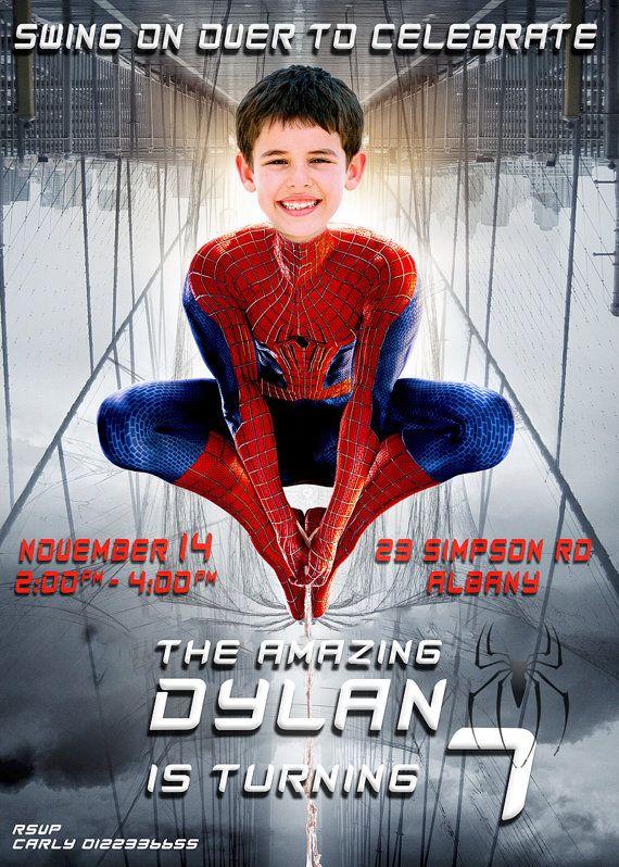 Spiderman Birthday Invitation Spiderman By Partyphotoinvites