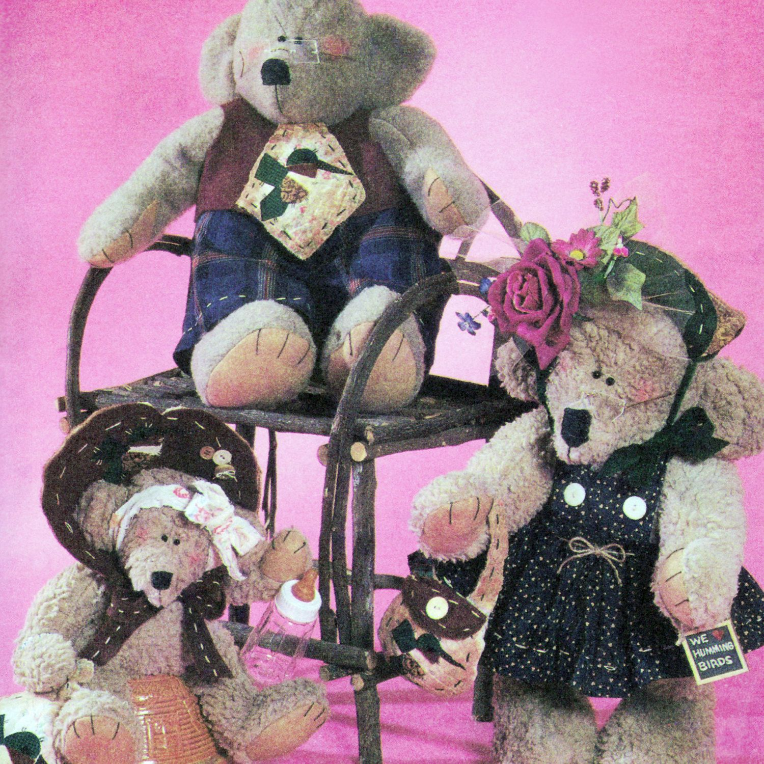 """Vintage 1996 Sweet Teddy Bears and Clothes! Simplicity Crafts Sewing Pattern 7355, """"Dream Babies 'N' Stitches,"""" UNCUT with FACTORY FOLDS by karl79 on Etsy"""