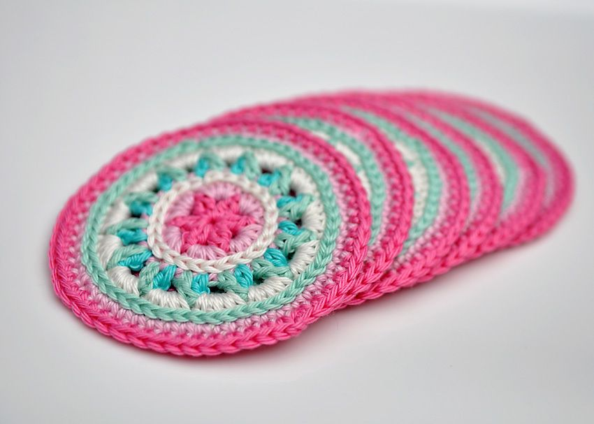 Summer Rose Crocheted Coasters Pattern Crochet Pinterest