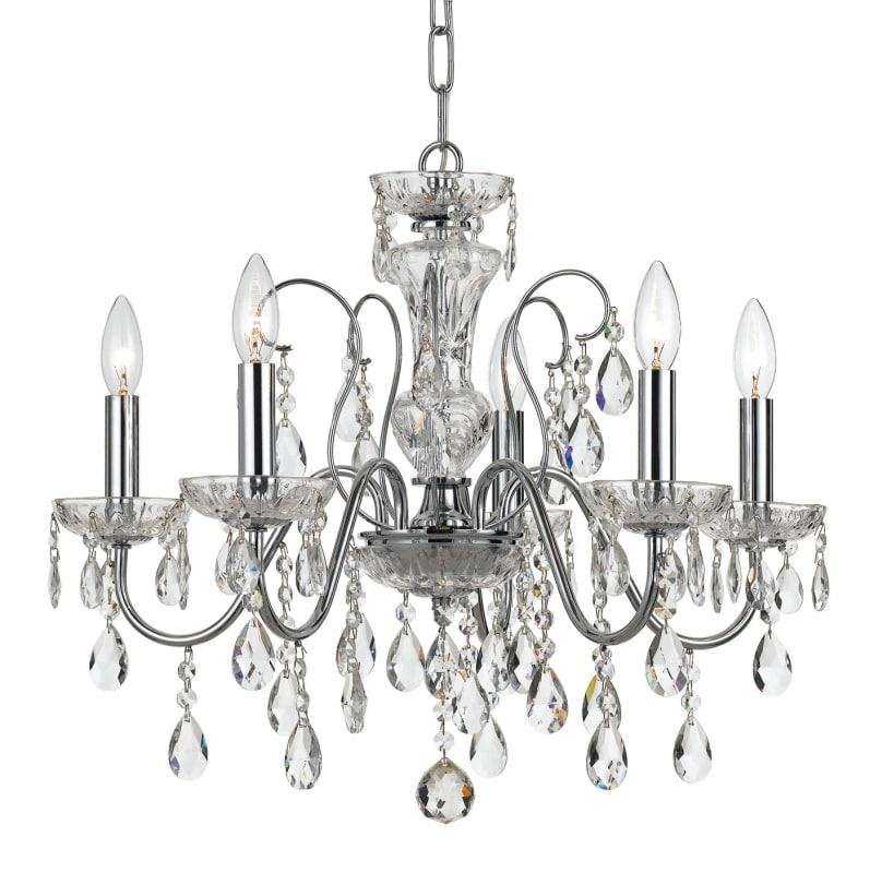 Elight Design Ed05605 5 Light 23 Wide Chandelier With Crystal Accents Chrome Indoor Lighting Chandeliers
