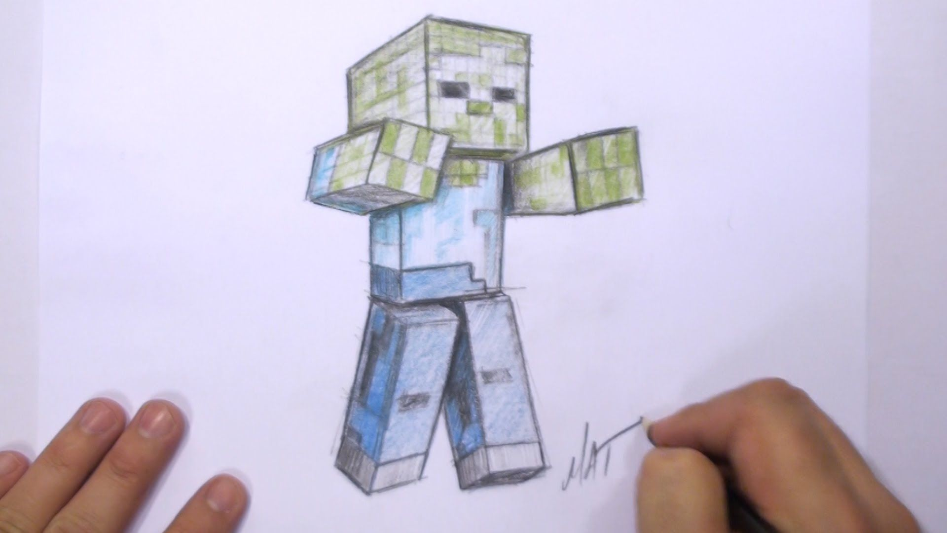 how to draw a 12d minecraft zombie mat youtube  Optical illusions