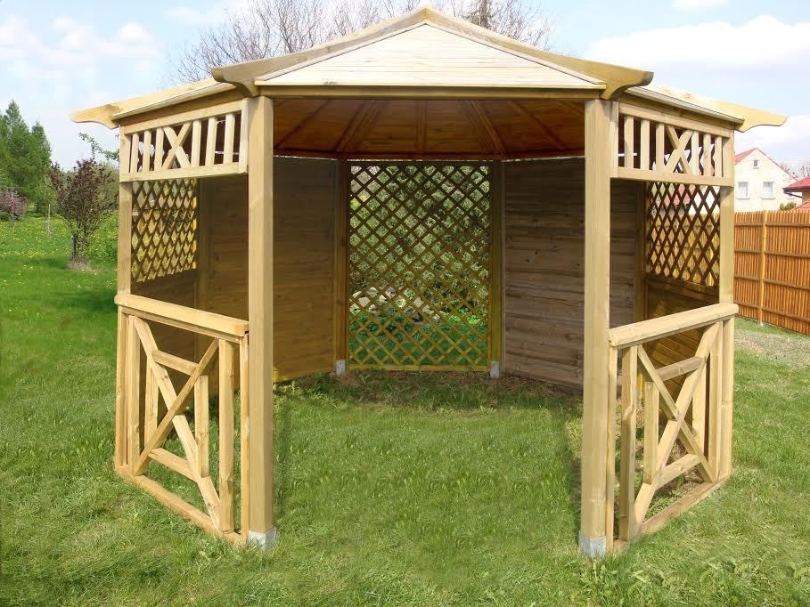 Details about WOODEN GAZEBO, PAVILION HOT TUB PATIO