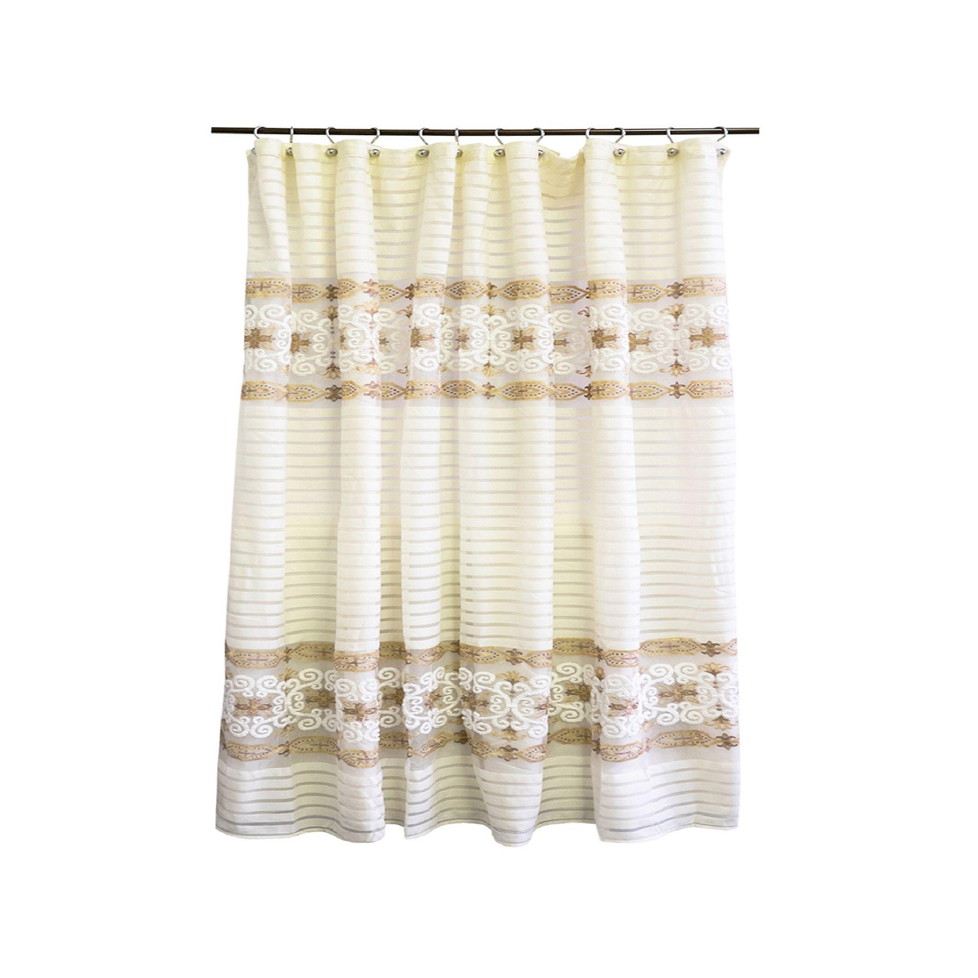Popular Bath Savoy Shower Curtain Beig Green Beig Khaki