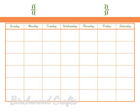 $2 INSTANT DOWNLOAD Monthly Calendar Template 8x10 by - printable monthly calendar sample