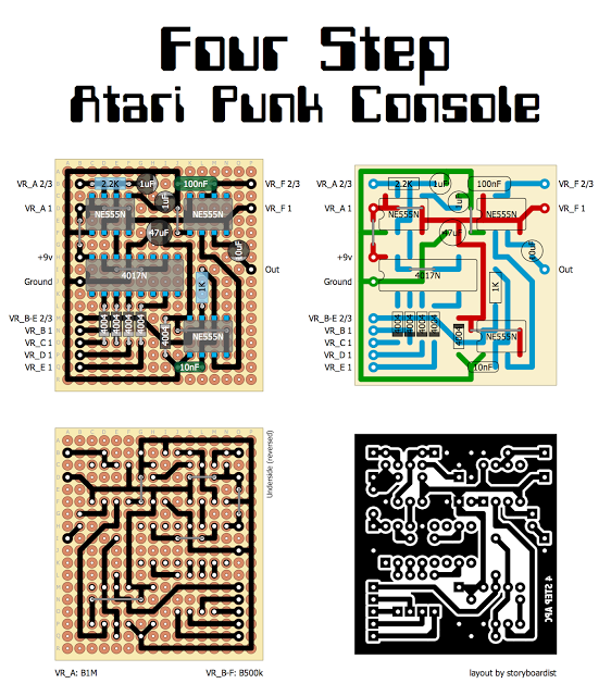 perf and pcb effects layouts four step atari punk console sdiy in 2019 diy guitar pedal. Black Bedroom Furniture Sets. Home Design Ideas