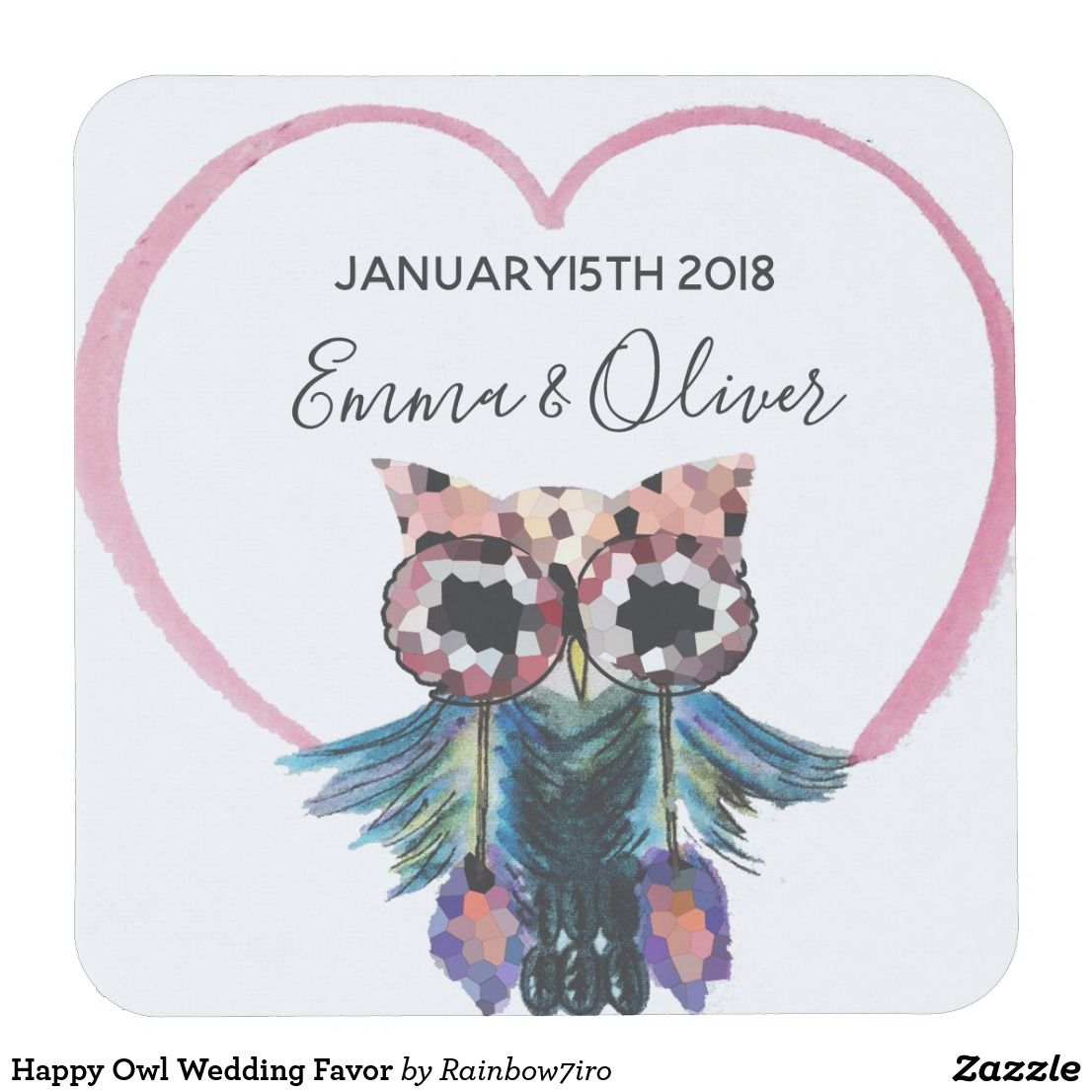Happy Owl Wedding Favor Square Paper Coaster   Favors