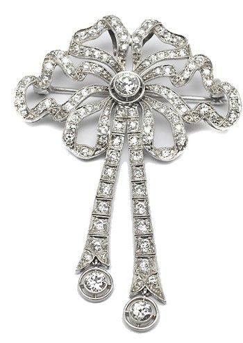 4ct Diamond Edwardian Platinum Bow Motif Pin