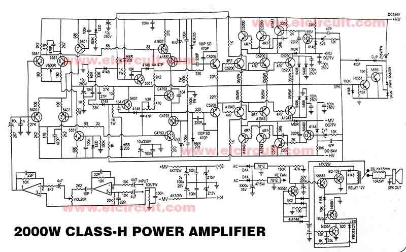 Powerful 2000W Power Amplifier Class-H | Power amplifiers, Audio amplifier,  Electronics circuitPinterest
