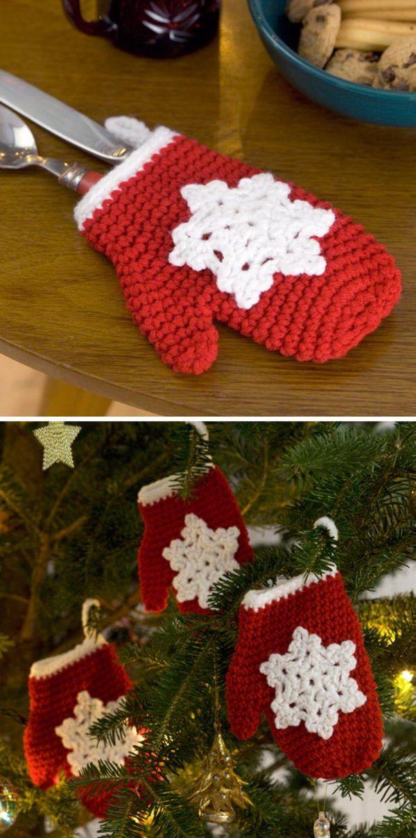 Crochet Snowflake Mitten Holiday Ornament Free Pattern Crochet