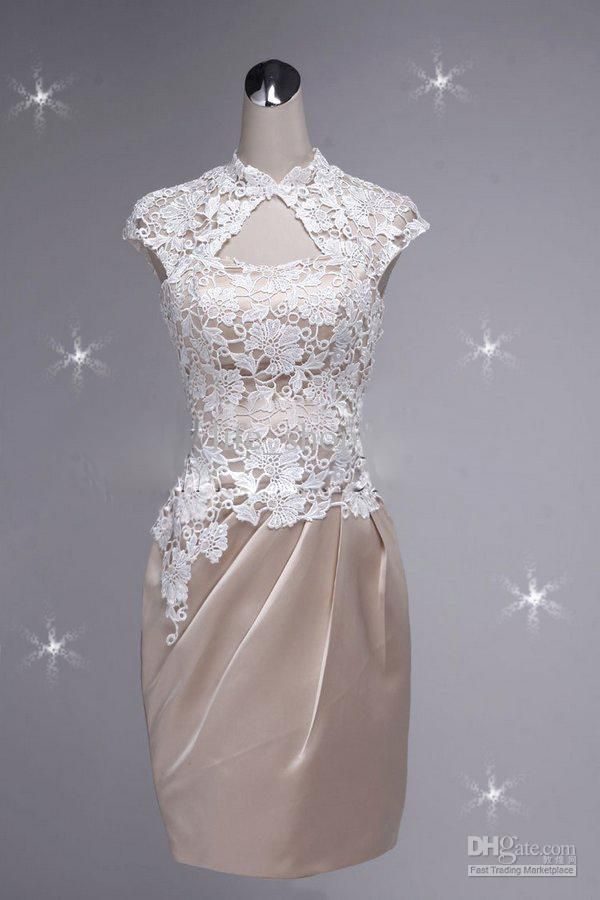 Wholesale Elegant Mother of the Bridal Dresses Short Sleeves Sheath Lace Flower Satin Prom Party Gowns, Free shipping, $105.72-110.12/Piece | DHgate