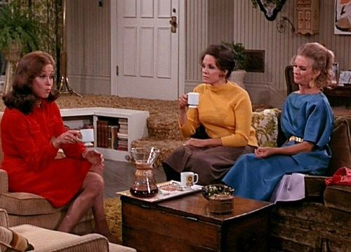 Mary is going to wear out that red shirt dress if she doesn't watch it. This one goes to Phyllis because she wore that blue thing only once
