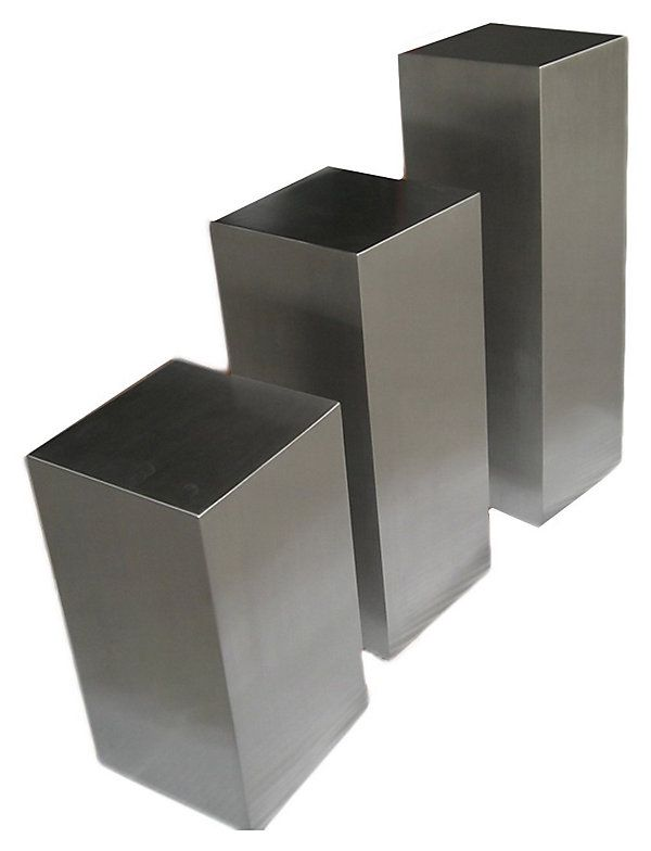 One Kings Lane - The Minimalist - Silver Miami Pedestals, Set of 3