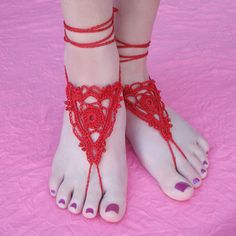 Free Crochet Pattern: Goddess Barefoot Sandals -- great idea for getting married…