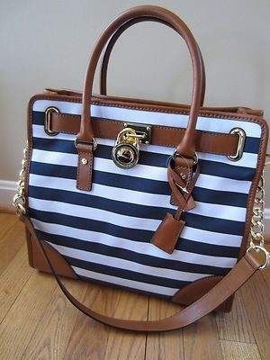Michael Kors Hamilton Navy Blue White Stripe Large NS Tote Bag ...