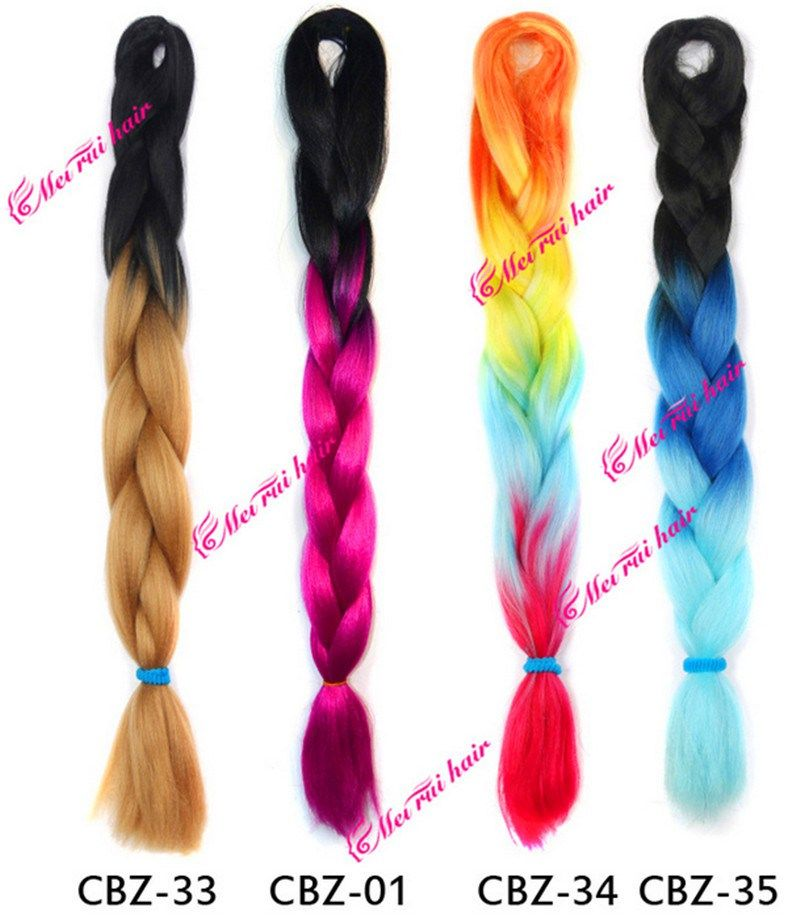 Ombre Kanekalon Jumbo Braiding Hair 24inch 100gpiece Synthetic