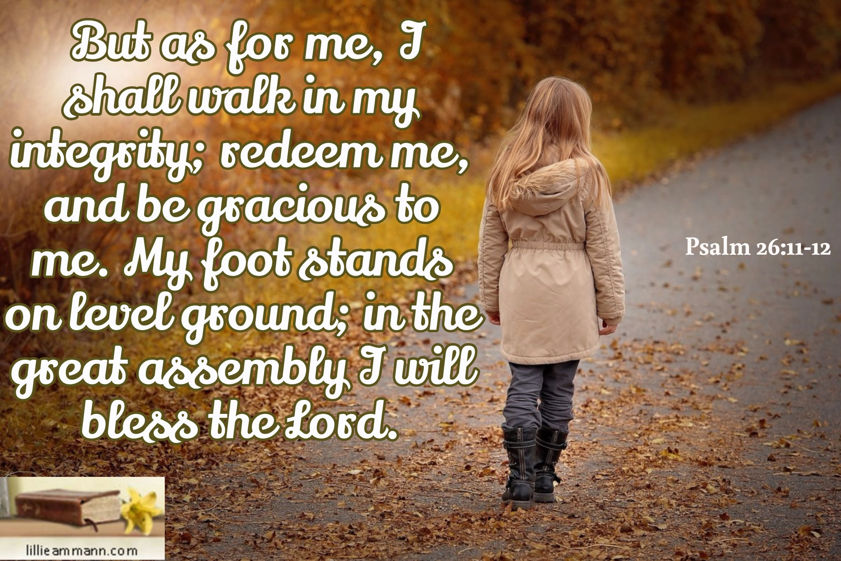 But as for me, I shall walk in my integrity; redeem me, and be gracious to me. My foot stands on lev...