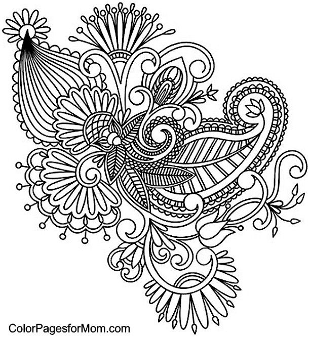 Paisley Coloring Page  coloring pages  Pinterest  Coloring
