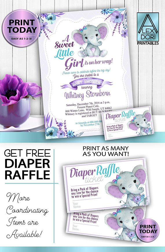 Instant Download Purple Turquoise Elephant Invitation Template - Free 5x7 invitation template