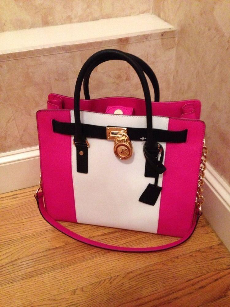 Nwt Michael Kors Hamilton Chain Large Ns Tote Bag Center Stripe Raspberry Gold Michaelkors Satchel
