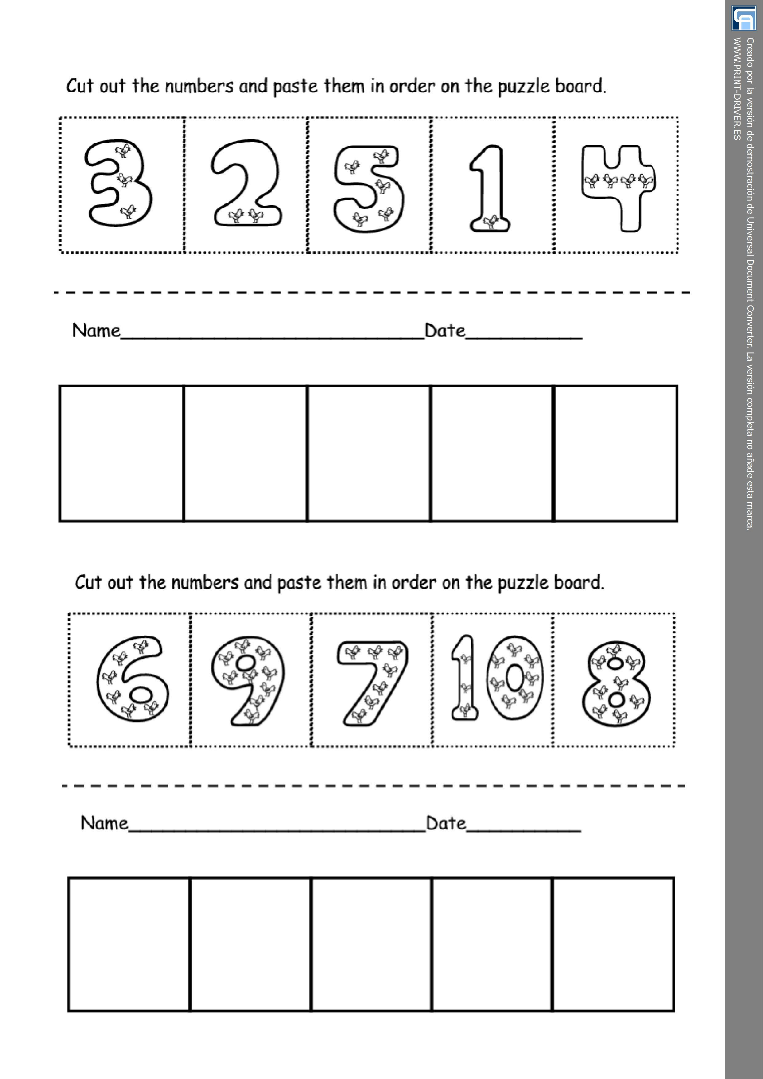 Numeracy Worksheet Learning The Numbers Personal Teaching