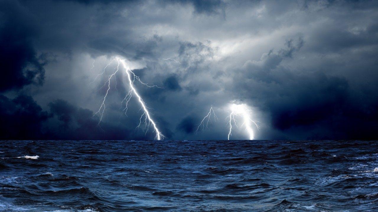 Sea 5k 4k Wallpaper 8k Ocean Storm Lightning Clouds