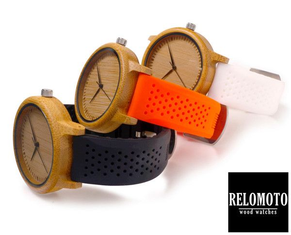 Dahan Silicone Strap Bamboo Wood Watch - Relomoto