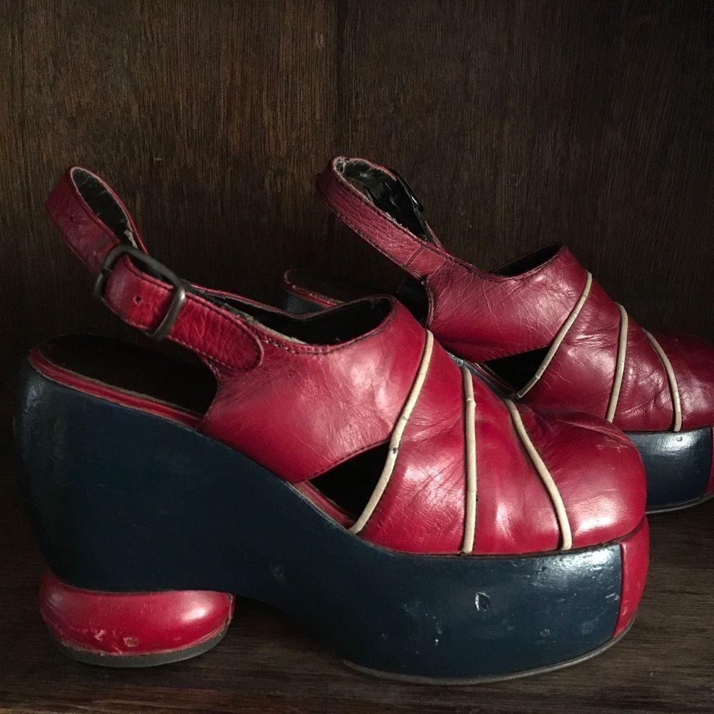 217ac42d2b7 Vintage 70 s Platform Shoes Originals GLAM ROCK shoes Disco Rocker Leather  8 1 2  Platform