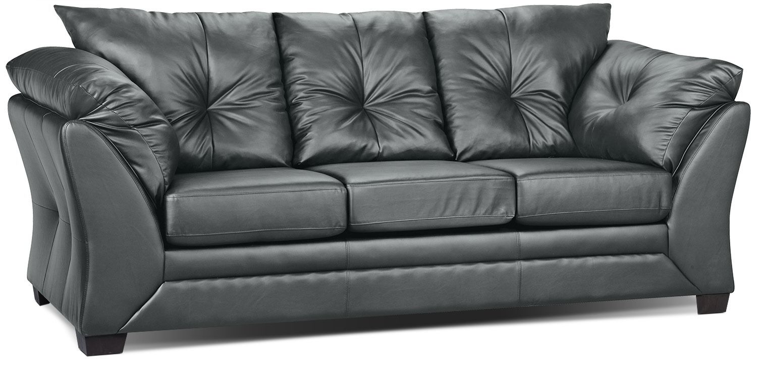 Max Faux Leather Fullsize Sofa Bed Grey The Brick In 2020 Faux Leather Couch Faux Leather Sofa Leather Couch