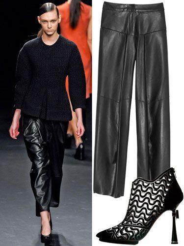 Leather Pants Trend - How to Wear Fashionable Leather Pants: BAGGY -   Calvin Klein runway, Derek Lam pants, Nicholas Kirkwood shoe.