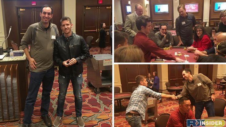 Winner Dana Deignan of SensoScientific and 2nd place winner Ben Greenfield from Helmer Scientific.   RXinsider 2016 Texas Hold'Em Poker Tournament - ASHP Midyear
