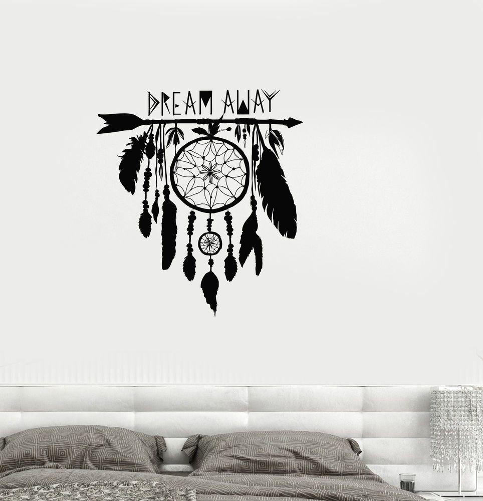Vinyl Decal Dream Catcher Dreamcatcher Amulet Bedroom Wall Stickers (ig3355) Ordspråk
