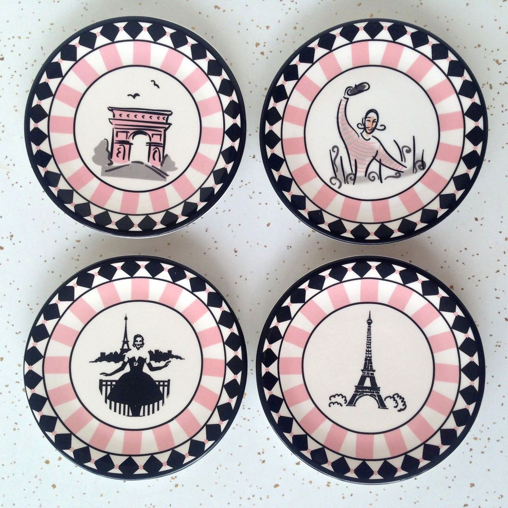 Paris Plates Set of 4 Painted Eiffel Tower Small Plate French Pink Black Ceramic #vintage  sc 1 st  Pinterest & Paris Plates Set of 4 Painted Eiffel Tower Small Plate French Pink ...