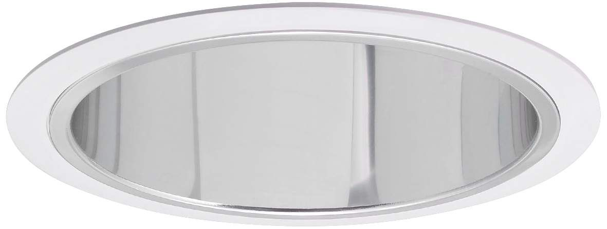 Nora 7 Inch Wide Chrome And White Recessed Lighting Trim