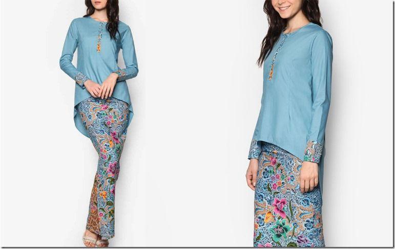 Design Baju Raya Artis : Batik inspired kurung with asymmetrical high low hem