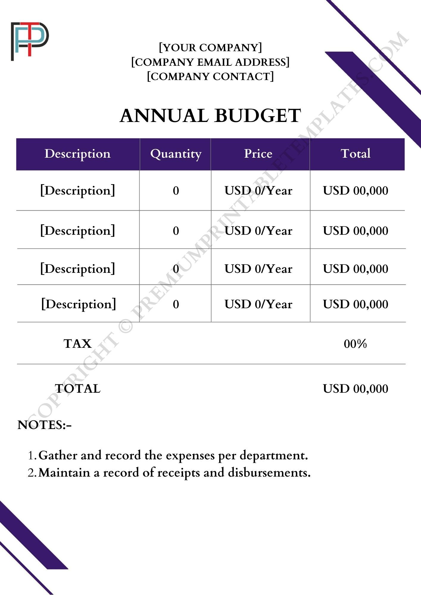 Printable Annual Budget Template In Pdf And Word Premium Printable Templates In 2021 Budget Template Budgeting Template Printable