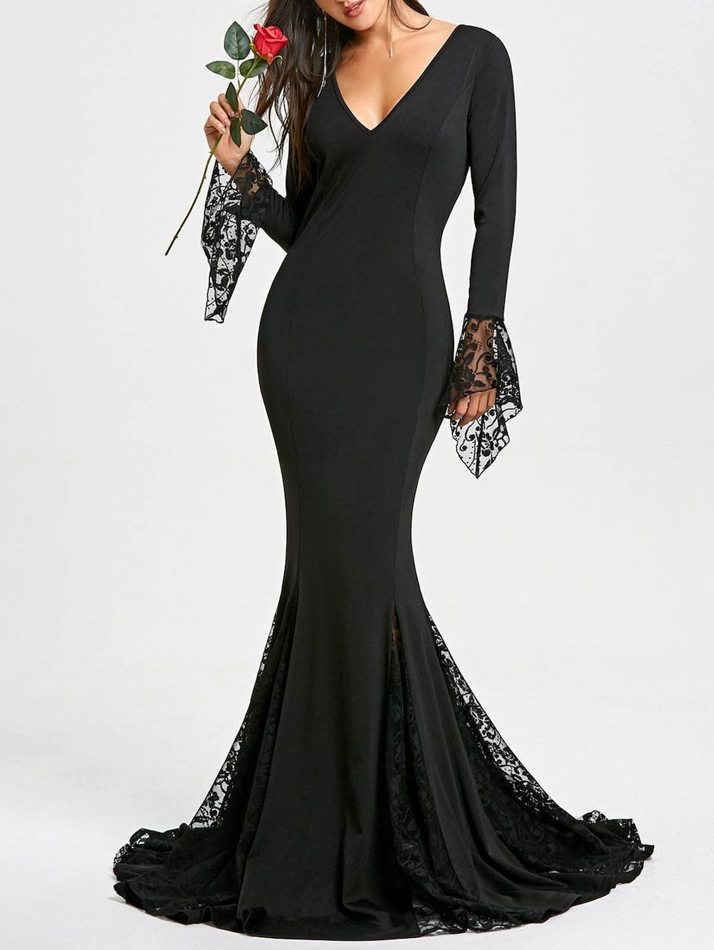 Lace panel deep v neck mermaid prom dress prom clothes and black