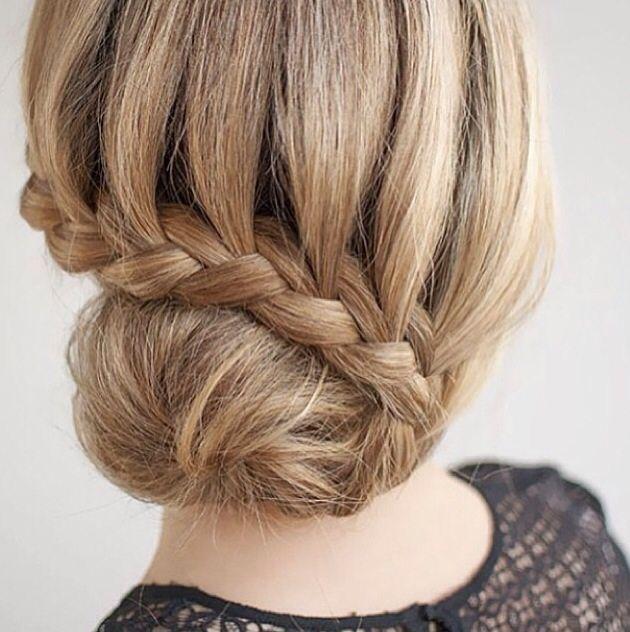waterfall braid bun (With images) Thick hair styles Long hair styles Hair braid diy