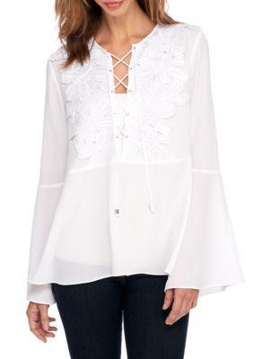 9b9e539d8bc37a Michael Michael Kors Women's Kimono With Lace Bib Top - White - Xs