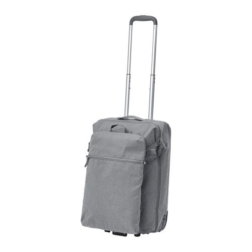 28a5a94e7044 IKEA FÖRENKLA Cabin bag on wheels and backpack Light grey Contains one  small backpack that you can easily attach to the outside of the larger  backpack.