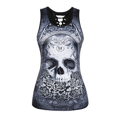 852aed4b791f7 Sexy Women Chic Skull Print Backless Sleeveless Vest Slim T-shirt Tank Tops  Gift