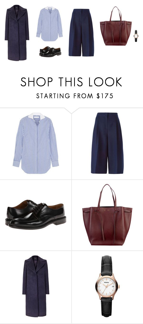 """Untitled #3026"" by memoiree ❤ liked on Polyvore featuring Victoria Beckham, Valentino, Paul Smith, CÉLINE and FOSSIL"