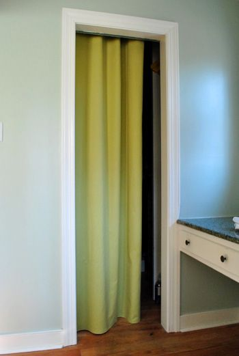 Could replace closet or laundry room doors with fabric I heart.