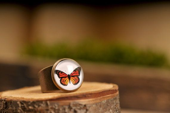 Monarch butterfly ring adjustable ring statement ring by SomeMagic