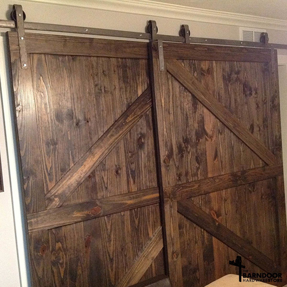 This Single Track Bypass Barn Door Hardware Kit Allows Two Doors To Over Lap Each Other So They Are Ba Bypass Barn Door Hardware Bypass Barn Door Diy Barn Door