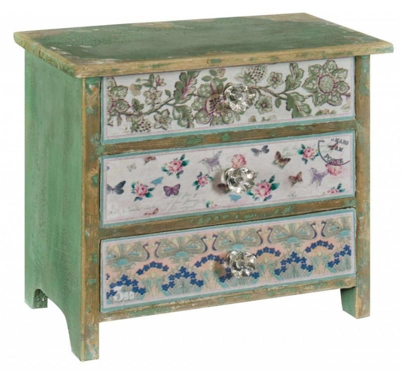 Mini Wooden Vintage Floral Butterfly Storage Chest of