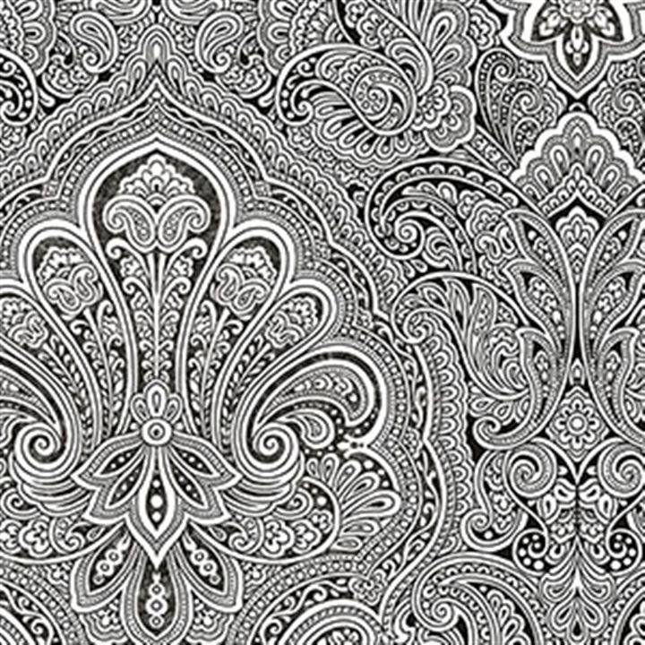 AmericanBlinds Black And White WallpaperBlack WhiteDamask Patterns Paisley